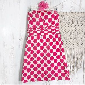 The Limited pink & white jumbo dot strapless dress